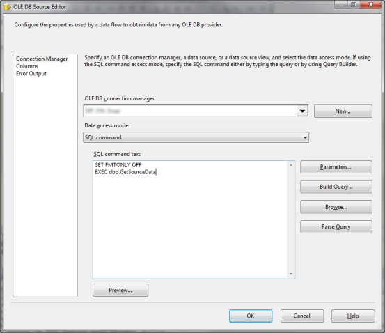 SSIS: No column information was returned by the SQL command