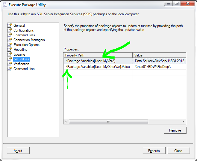 SSIS Set Variables in GUI
