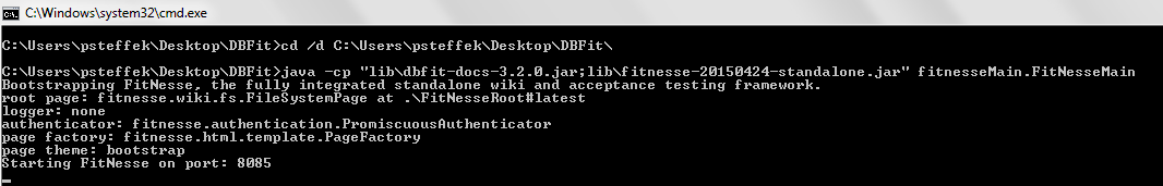 DBFit Command Window